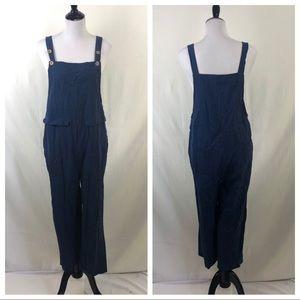 Zanzea navy blue 100% cotton overalls size small